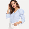 Blue Striped Elegant Workwear Puff Sleeve V Neck Blouse | TeresaClare