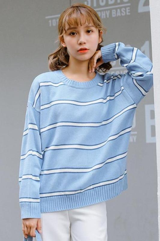 Blue Striped O-neck Knitted Pullovers Chic Loose Sweater | TeresaClare