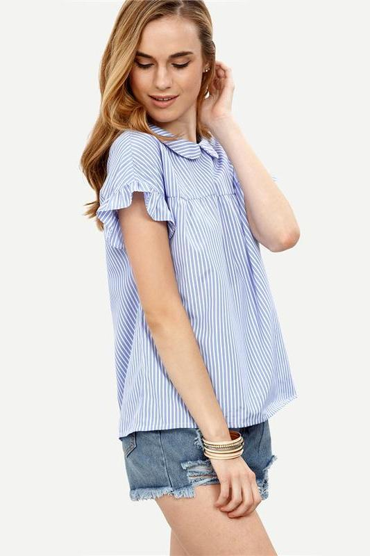 Blue Striped Short Sleeve Casual Blouse | TeresaClare
