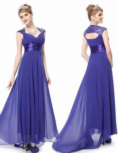 Blue Sweep Train V-Neck Chiffon Evening Dress With Ruffles And Sequins | TeresaClare