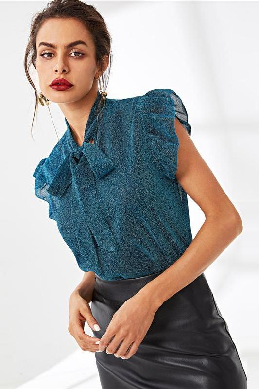 Blue Tie Neck Ruffle Armhole Glitter Blouse | TeresaClare