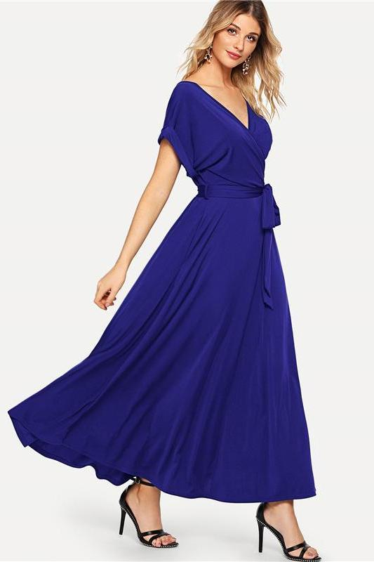 Blue V Neck Rolled Sleeve Self Belted Knot Elegant Fashion Dress | TeresaClare