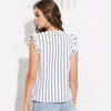 Blue Weekend Casual V-Neck Striped Ruffle Blouse | TeresaClare