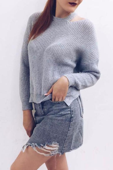 Blue Wool Knitted Sweater With O-Neck With Full Sleeves | TeresaClare