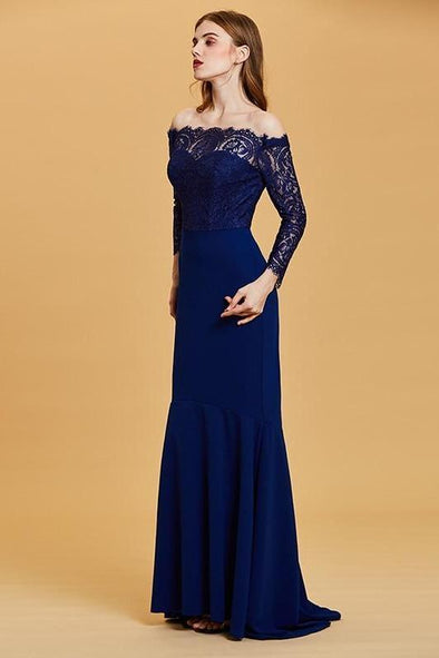 Boat Neck Dark Royal Blue Lace Floor Length Evening Dress | TeresaClare