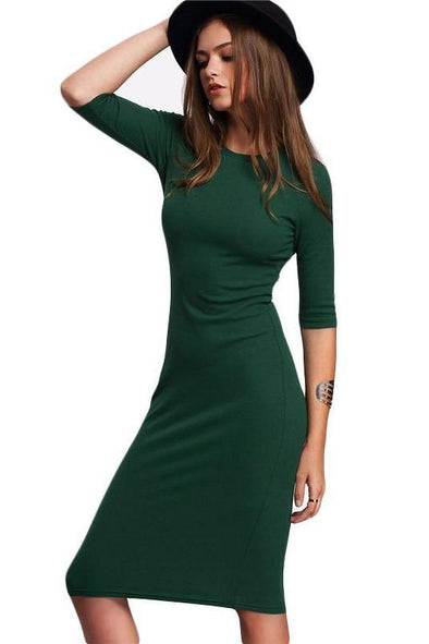 Bodycon Casual Green Midi Half Sleeve Fashion Dress | TeresaClare