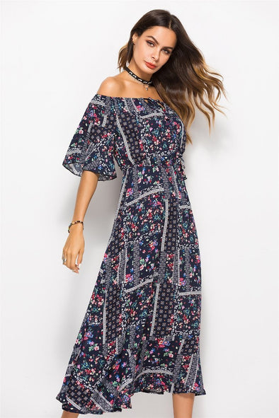 Bohemian Off Shoulder Short Sleeved Print Fashion Dress | TeresaClare