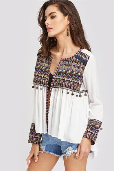 Boho Embroidered Yoke and Cuff Coin Fringe Trim Blouse | TeresaClare