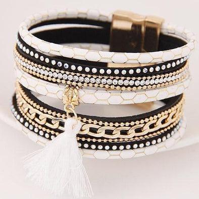 Boho Fashion Multilayer Rhinestone Leather Tassel Bracelet | TeresaClare