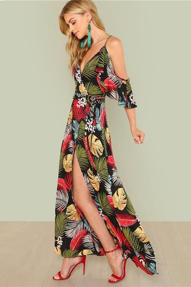 Boho Floral Print Sexy Deep V Neck Open Shoulder Fashion Dress | TeresaClare