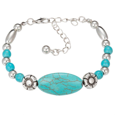 Boho Natural Stone Blue Beads Bracelet Silver Color | TeresaClare