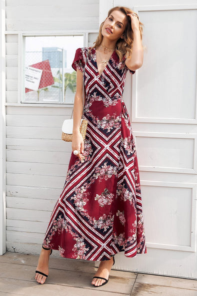 Boho Print V Neck Wrap Summer Elegant High Waist Long Dress | TeresaClare