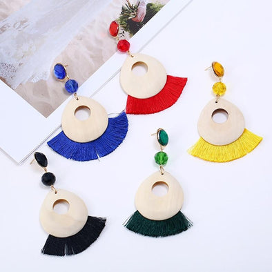 Boho Red Yellow Black Tassel Earrings For Women | TeresaClare