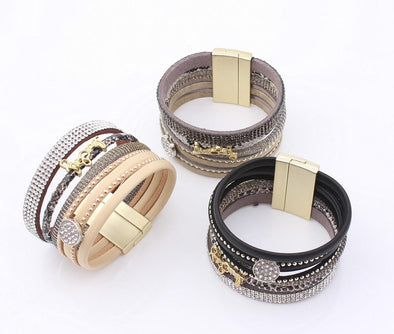 Boho Rhinestone Letter Multilayer Leather Bracelet | TeresaClare