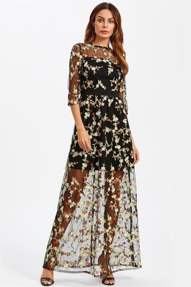 Botanical Embroidery Maxi Floral Mesh Overlay Fashion Dress | TeresaClare