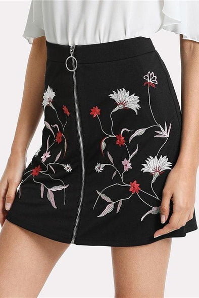 Botanical Flower Embroidery Zipper Up Black Mid Waist Skirt | TeresaClare
