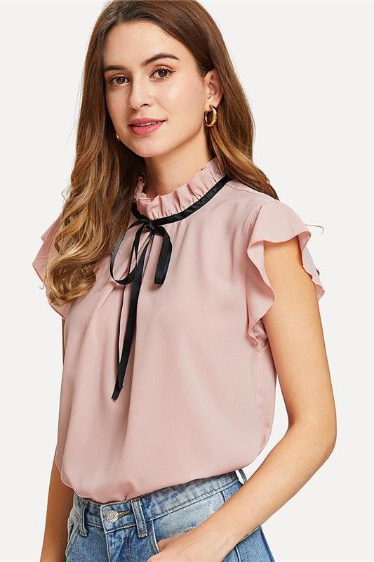 Bow Tied Frilled Neck Button Back Blouse | TeresaClare