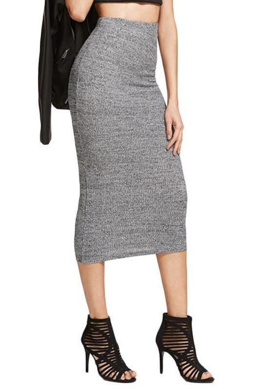 Brief Knit Pencil Women Heather Grey Elegant Skirt | TeresaClare