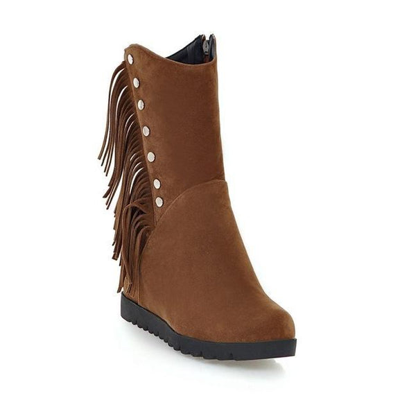 Brown Ankle Boots Women Sexy Suede Flats Zipper | TeresaClare