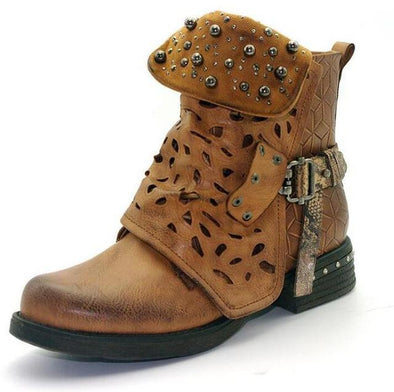 Brown Ankle Rhinestone Winter Boots Rivet Buckle Strap | TeresaClare