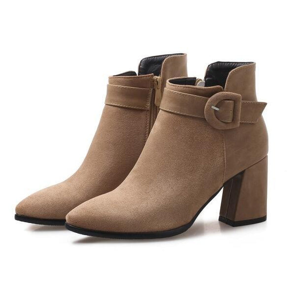 Brown Buckle Ankle Boots Casual Short Suede Pointed Toe | TeresaClare