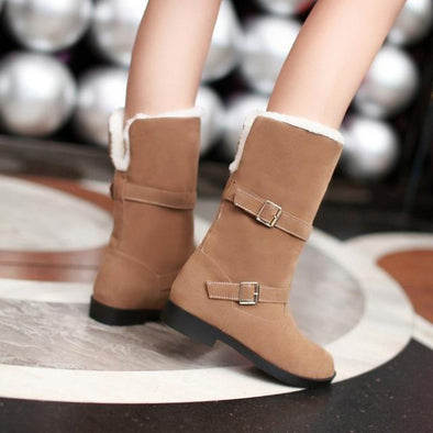 Brown Classic Suede Buckle Low Heel Snow Boots Faux Fur | TeresaClare