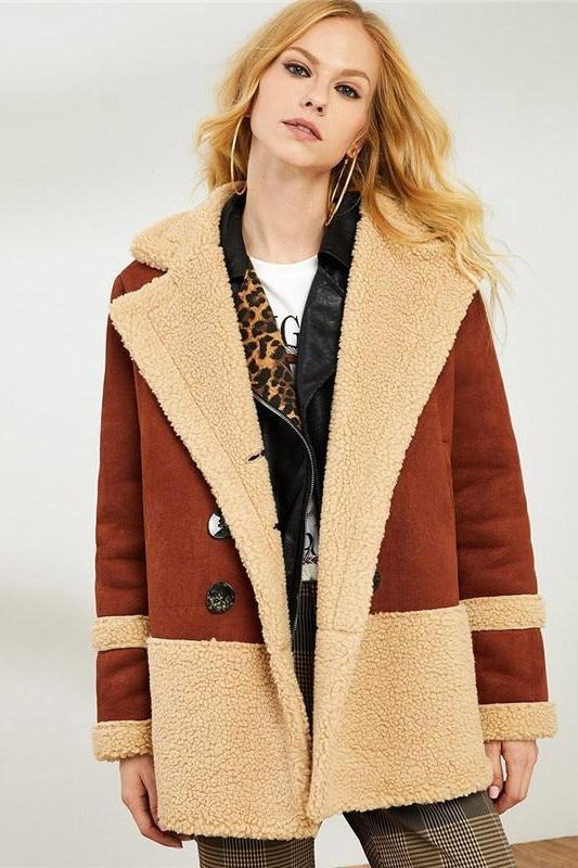 Brown Double Breasted Faux Fur Notched Collar Coat | TeresaClare