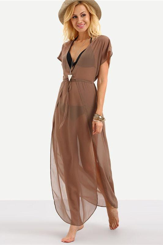 Brown Drawstring Waist V Neck Split Fashion Dress | TeresaClare