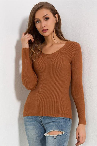 Brown Elastic Pullover Fashion Solid Casual Slim Sweater | TeresaClare