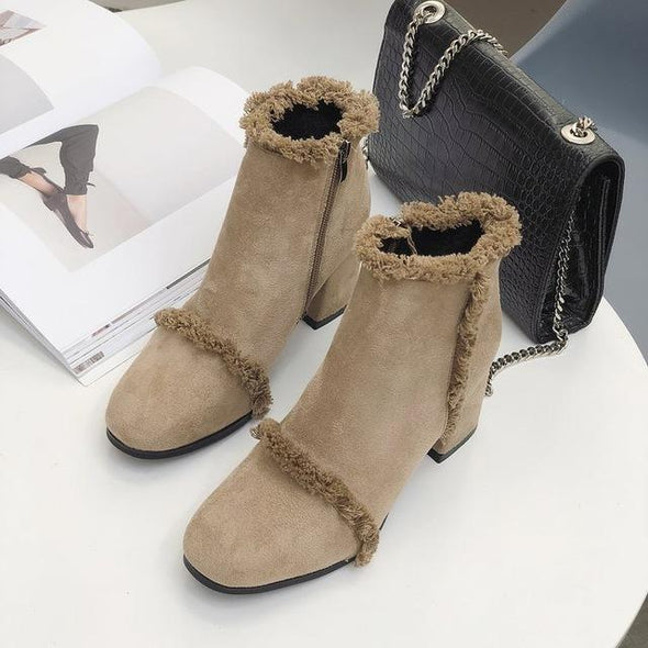 Brown Fashion Square Head High Heel Warm Ankle Boots | TeresaClare