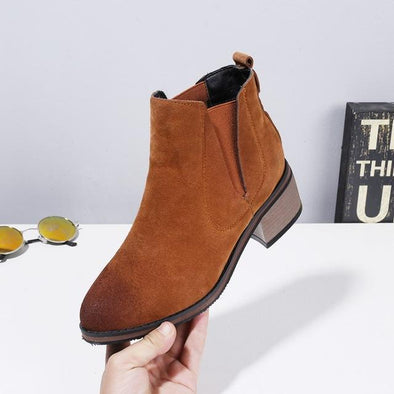 Brown High Quality Short Suede Square Heel Ankle Boots | TeresaClare