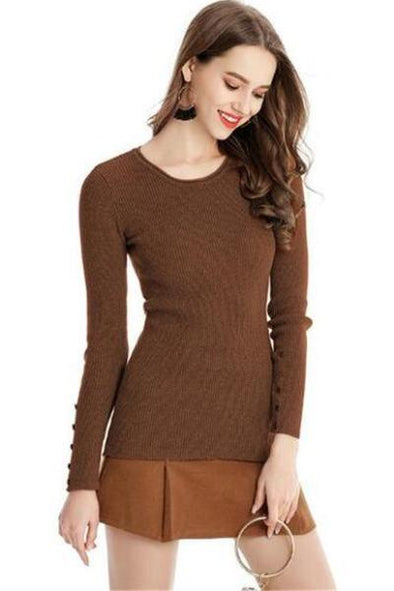 Brown Knitted Pullovers Sexy O-Neck Slim Knitwear Sweater | TeresaClare