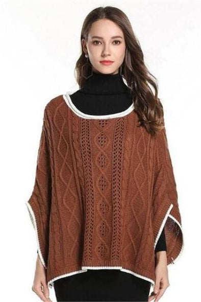 Brown Loose Casual Irregularity Knitted Cloak Coat Sweater | TeresaClare