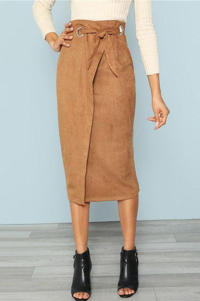 Brown Solid Workwear Tie Waist Wrap Bodycon Skirt | TeresaClare