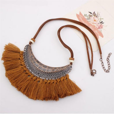 brown Tassel Big Ethnic Necklace Bohemia Leather Rope | TeresaClare