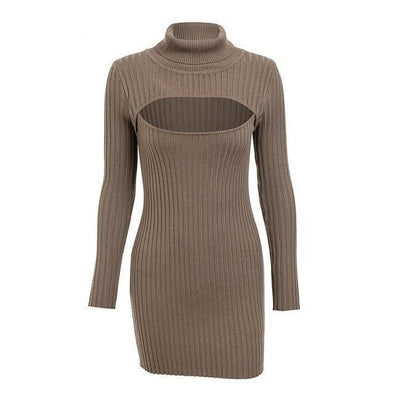 Brown Turtleneck Chest Hollow Out Bodycon Sexy Dress | TeresaClare