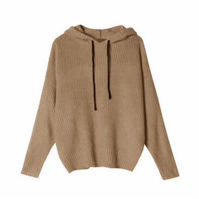 Brown Women's Loose Hooded Knitted Pullovers Female Sweater | TeresaClare