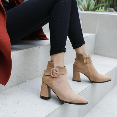 Buckle Ankle Boots Casual Short Suede Pointed Toe | TeresaClare