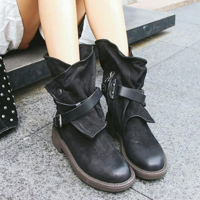 Buckle Artificial Leather Flat Soft Casual Military Boots | TeresaClare