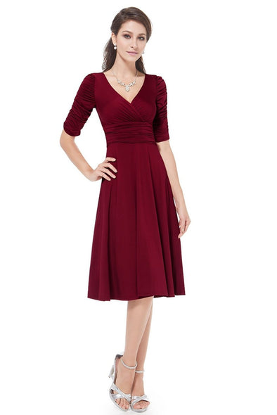 Burgundy A-Line Chiffon 1/2 Sleeves Knee-Length Homecoming Dress | TeresaClare
