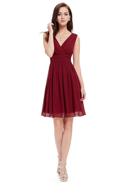 Burgundy A-Line Chiffon V-Neck Sleeveless Homecoming Dress | TeresaClare