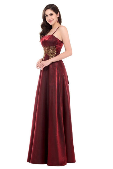 Burgundy A-Line Floor-Length Strapless Satin Evening Dresses | TeresaClare