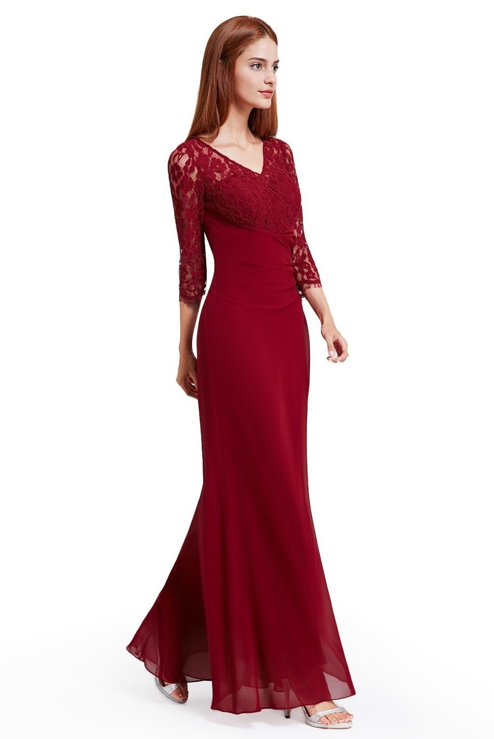 Burgundy A-Line Scoop Neck 1 2 Length Sleeves Evening Dress With Lace  f540db343