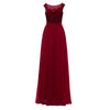 Burgundy Appliques Dark Royal Blue Bateau Neck Sleeveless Evening Dress | TeresaClare