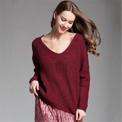 Burgundy Back Cross Sexy Candy Colors Deep V-Neck Sweater | TeresaClare