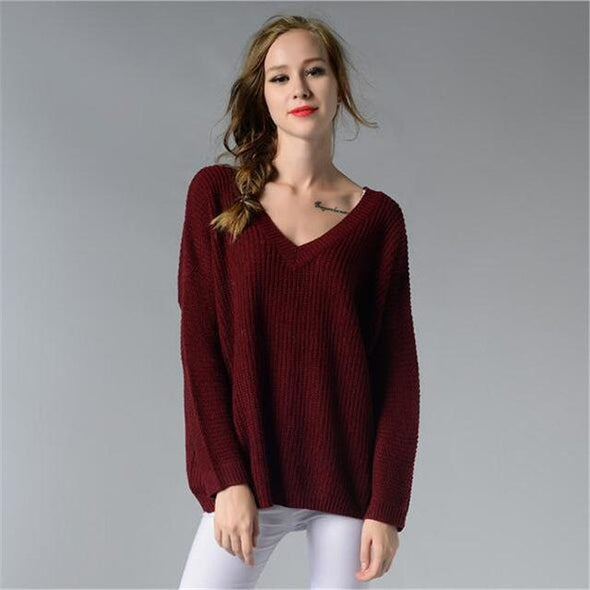 Burgundy Backless Fashion Deep V-Neck Knitted Pullover Sweater | TeresaClare