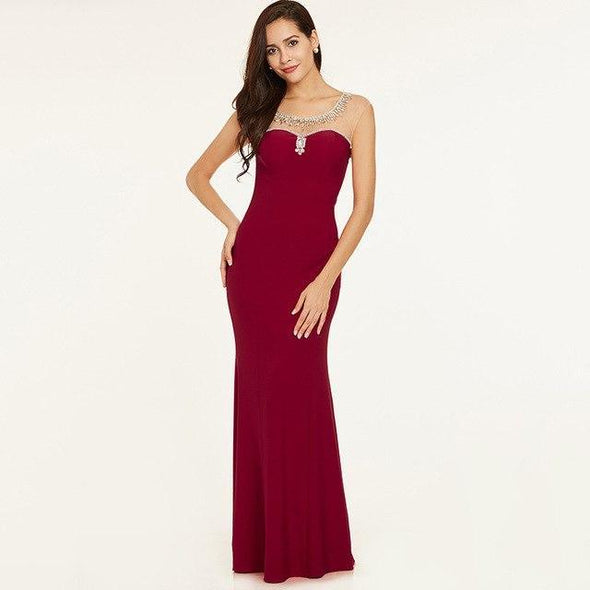Burgundy Beaded Elegant Cap Sleeves Straight Floor Length Evening Dress | TeresaClare