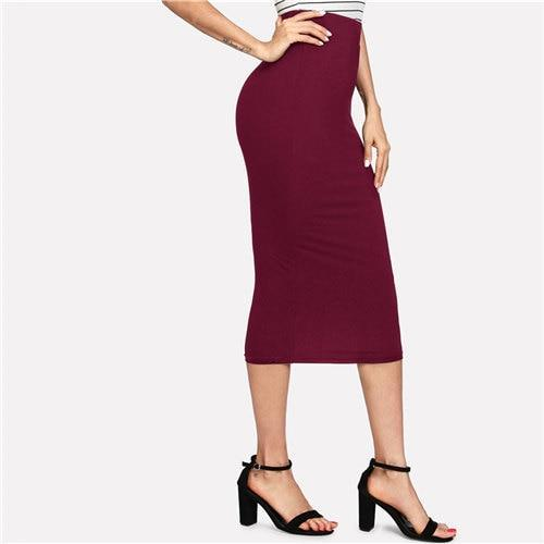 Burgundy Black Jersey Navy Sexy Office Pencil Midi Skirt | TeresaClare