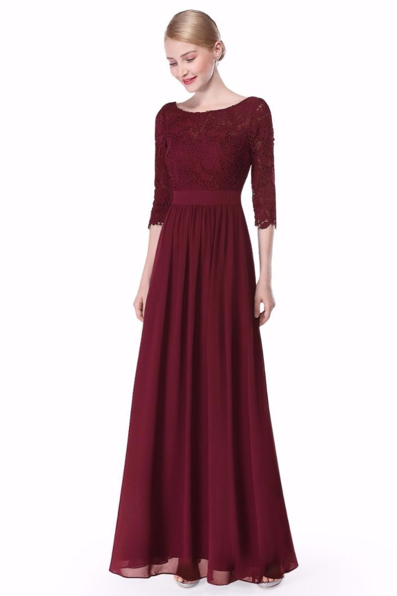 Burgundy Elegant A-Line Scoop Neck 3 4 Length Sleeves Evening Gown With Lace d85e1ccd6
