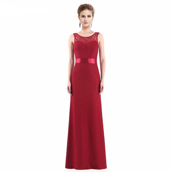 Burgundy Elegant Mermaid Sleeveless Long Dress | TeresaClare